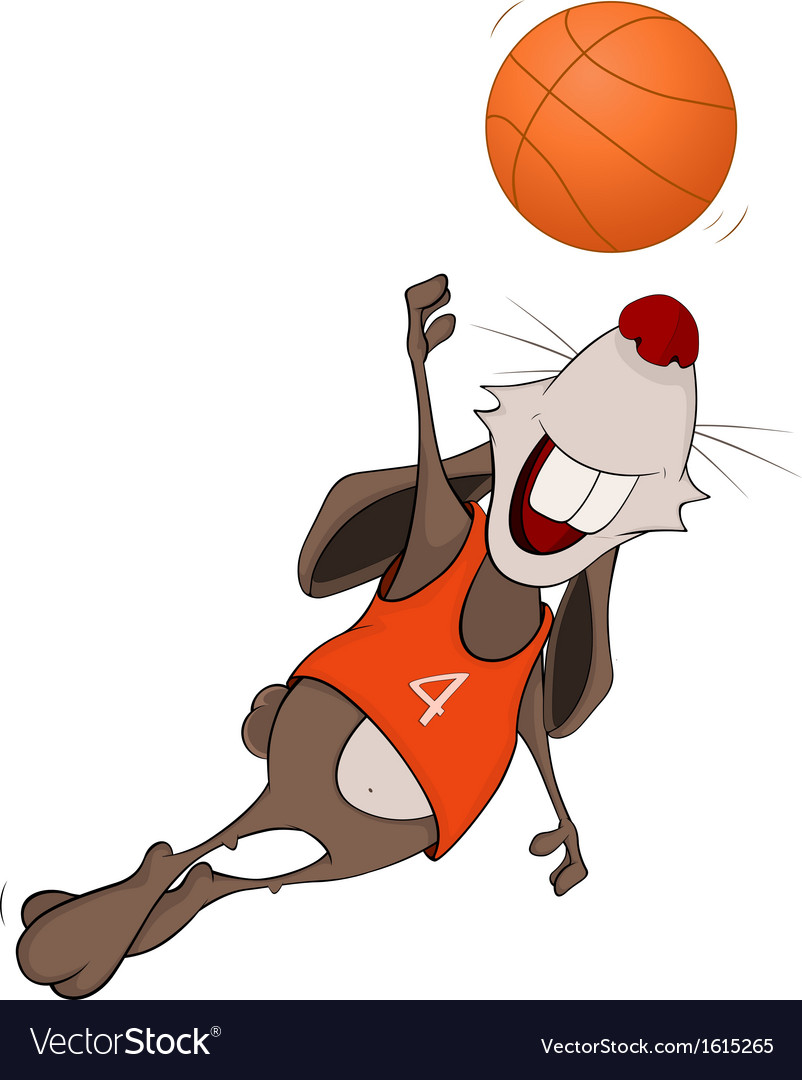 Rabbit the basketball player cartoon vector | Price: 1 Credit (USD $1)