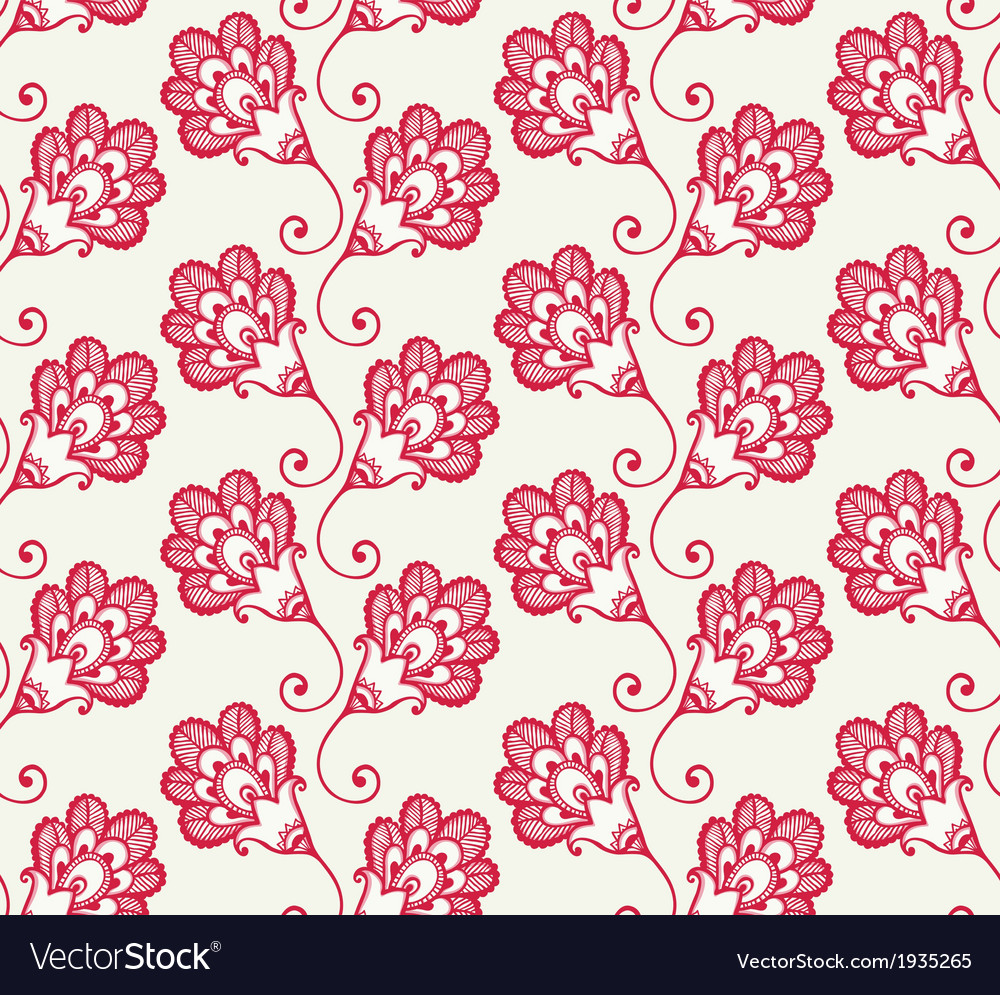 Seamless pattern with red doodle flowers vector | Price: 1 Credit (USD $1)