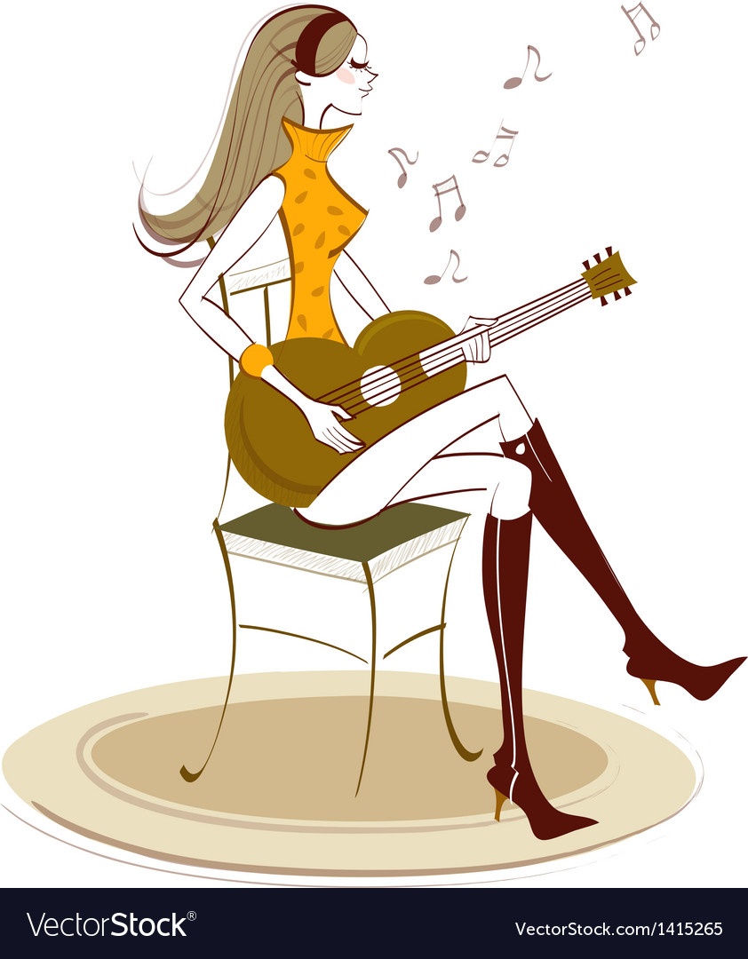 Woman plays guitar vector | Price: 1 Credit (USD $1)
