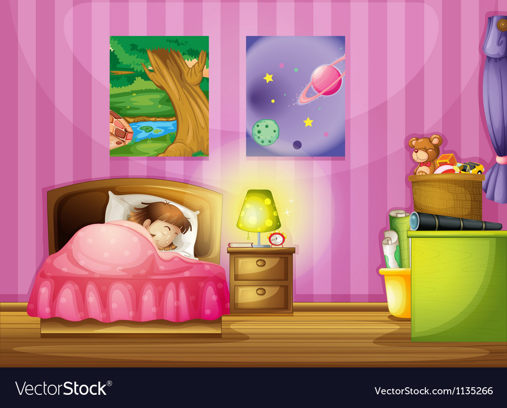A girl and a bedroom vector | Price: 1 Credit (USD $1)