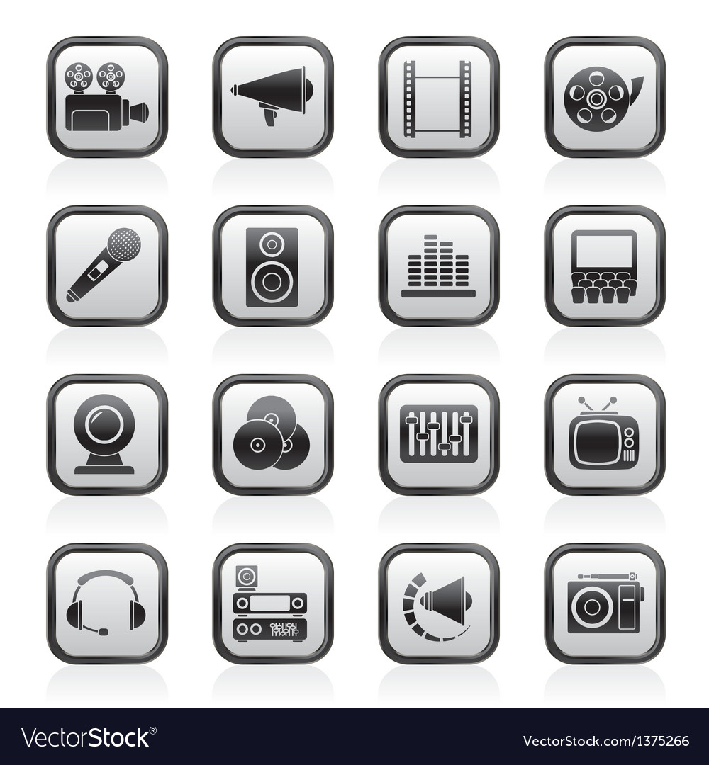 Audio and video icons vector | Price: 1 Credit (USD $1)