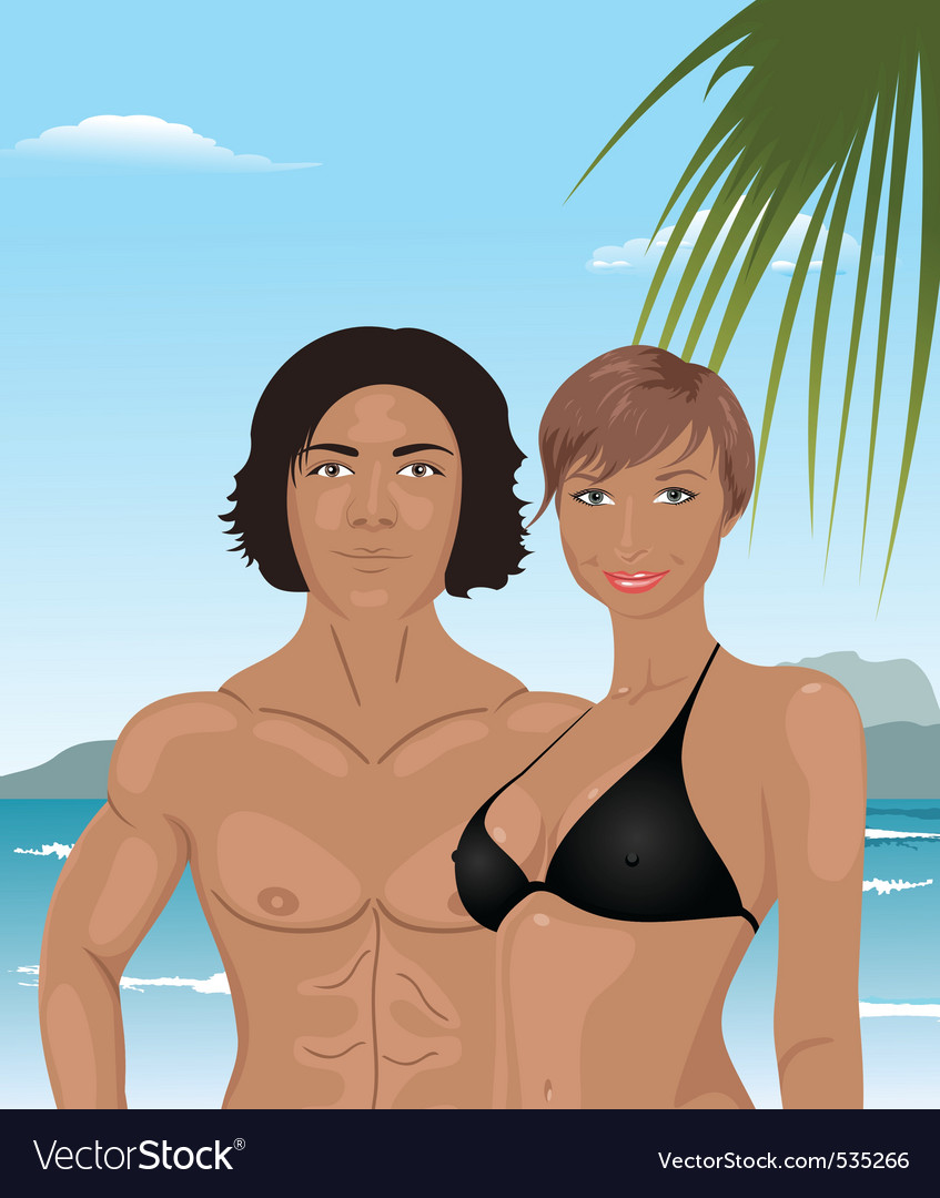 Beach girl and boy background vector | Price: 3 Credit (USD $3)