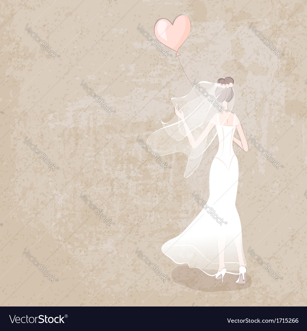 Bride in wedding dress with balloon vector | Price: 1 Credit (USD $1)