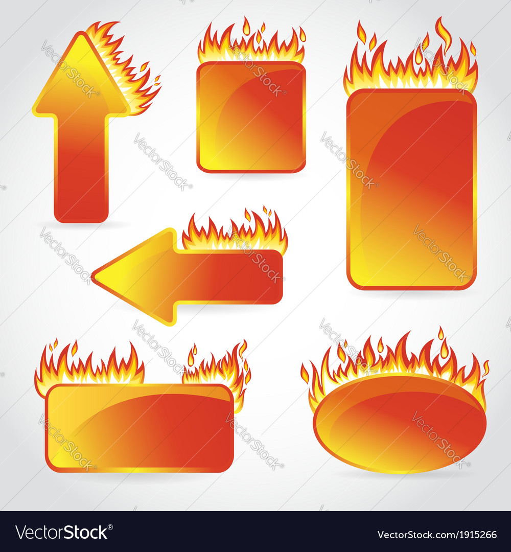 Burning with fire design sale stickers and tags vector | Price: 1 Credit (USD $1)