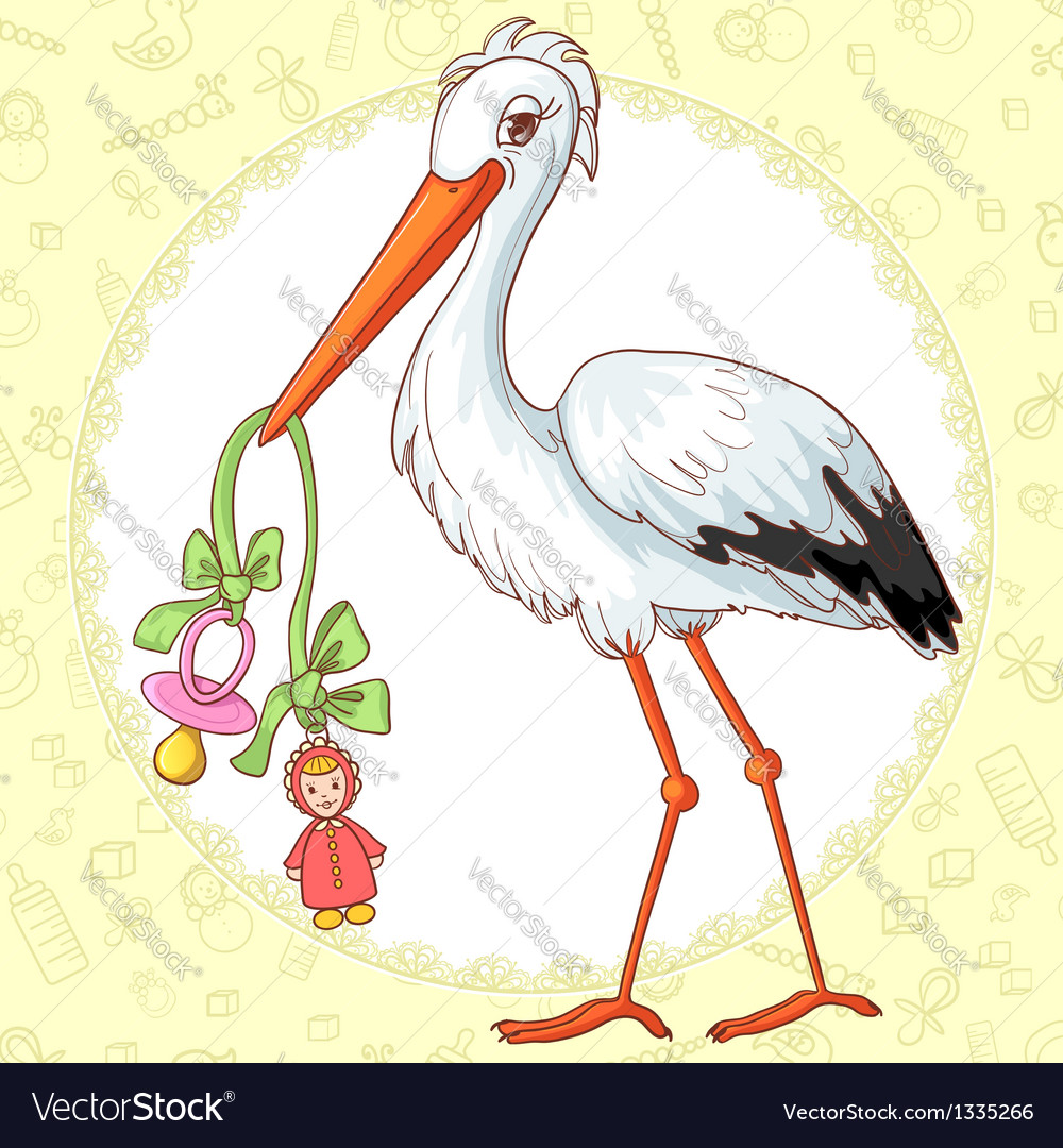 Card with stork and pacifier for girl vector | Price: 1 Credit (USD $1)