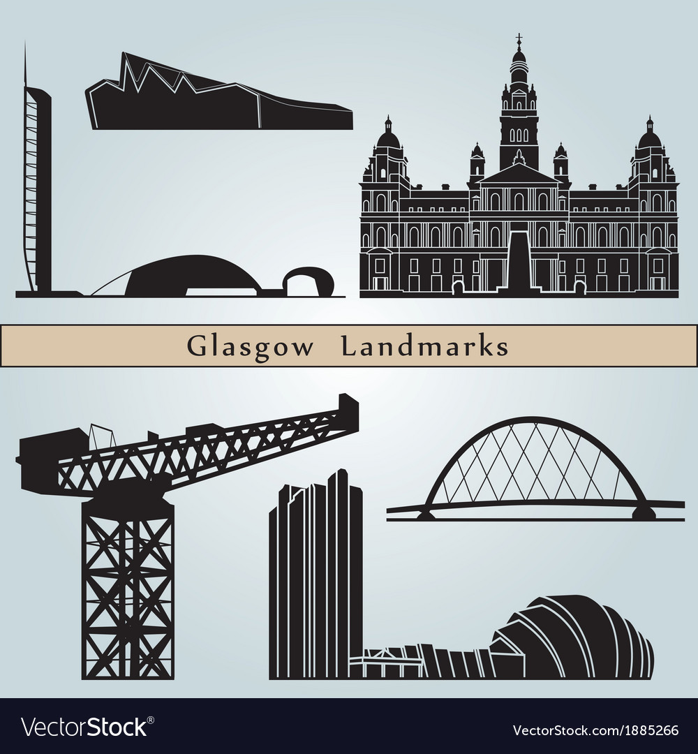 Glasgow landmarks and monuments vector