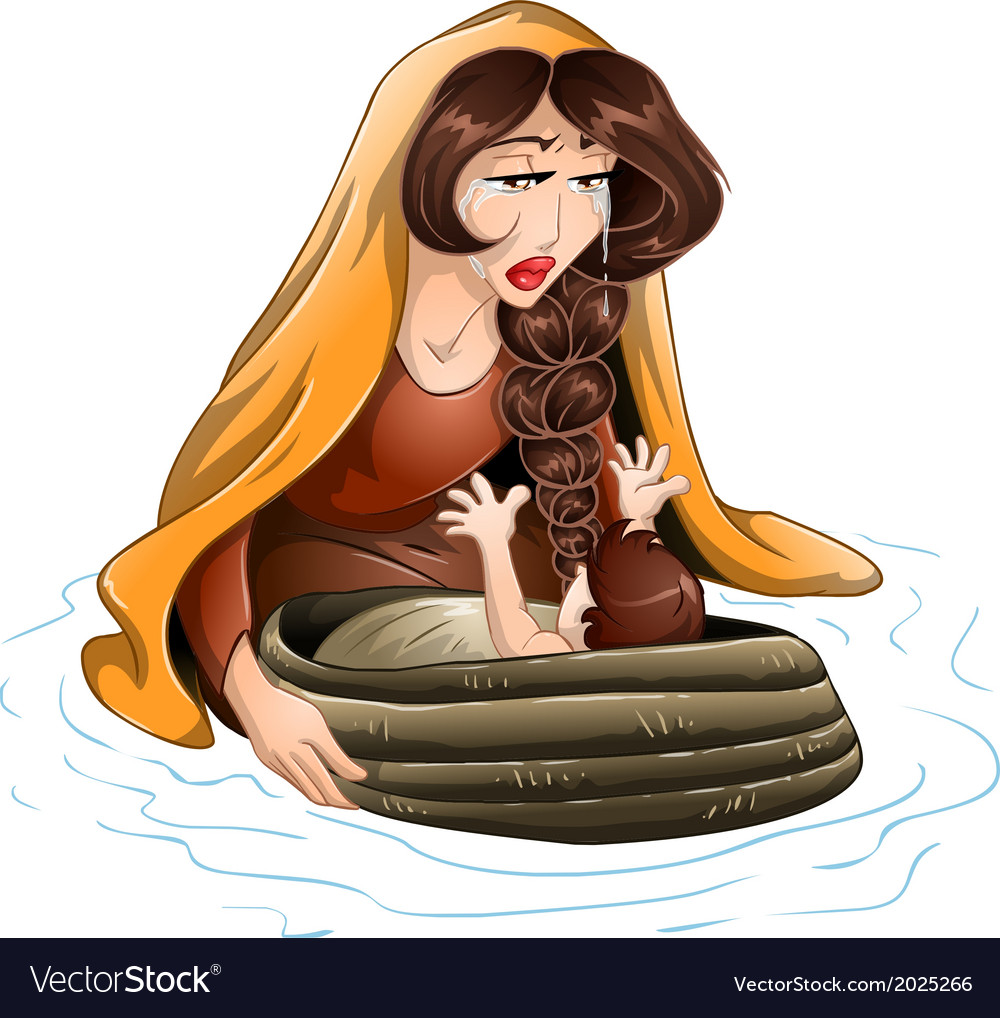 Moses placed in water by his mother vector   Price: 3 Credit (USD $3)