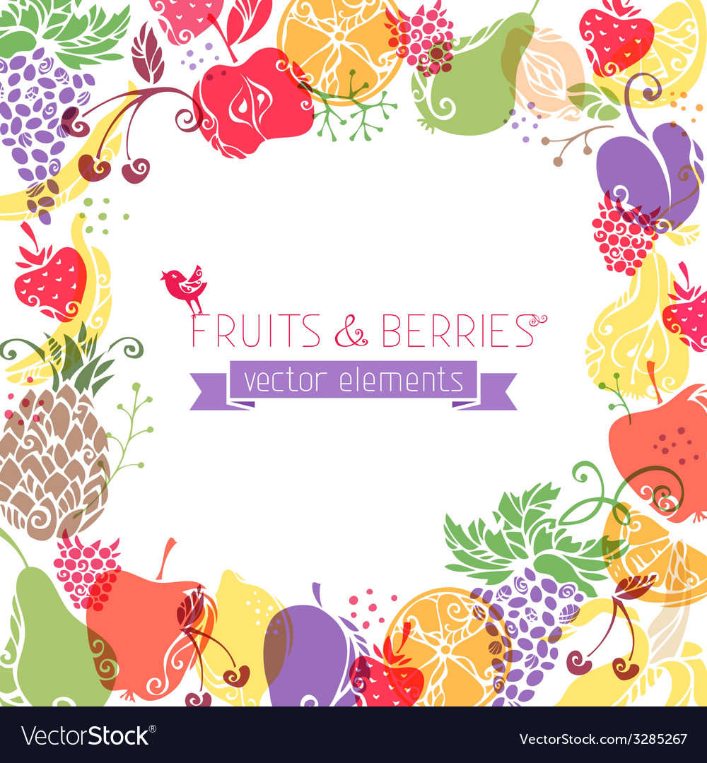 Background of fruits and berries on white vector | Price: 1 Credit (USD $1)