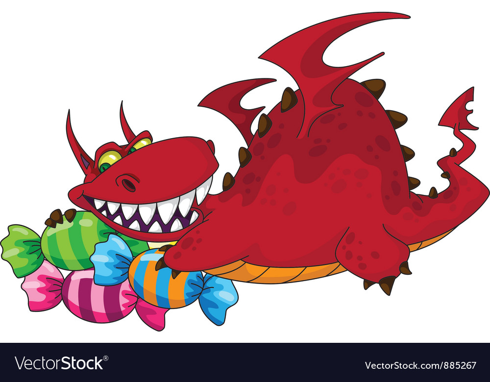 Big dragon with sweets vector | Price: 3 Credit (USD $3)