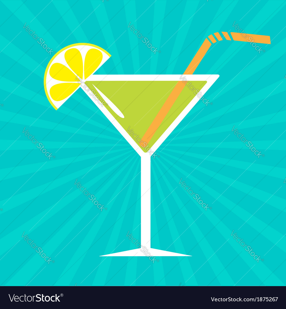 Cocktail in martini glass sunburst background vector | Price: 1 Credit (USD $1)