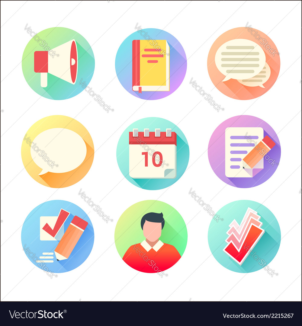 Flat trendy education colorful icons set vector | Price: 1 Credit (USD $1)