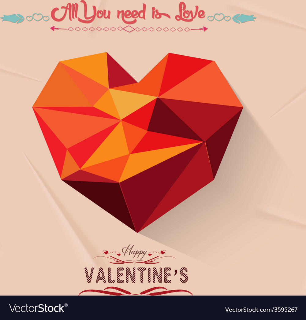 Happy valentine with geometrical heart vector | Price: 1 Credit (USD $1)