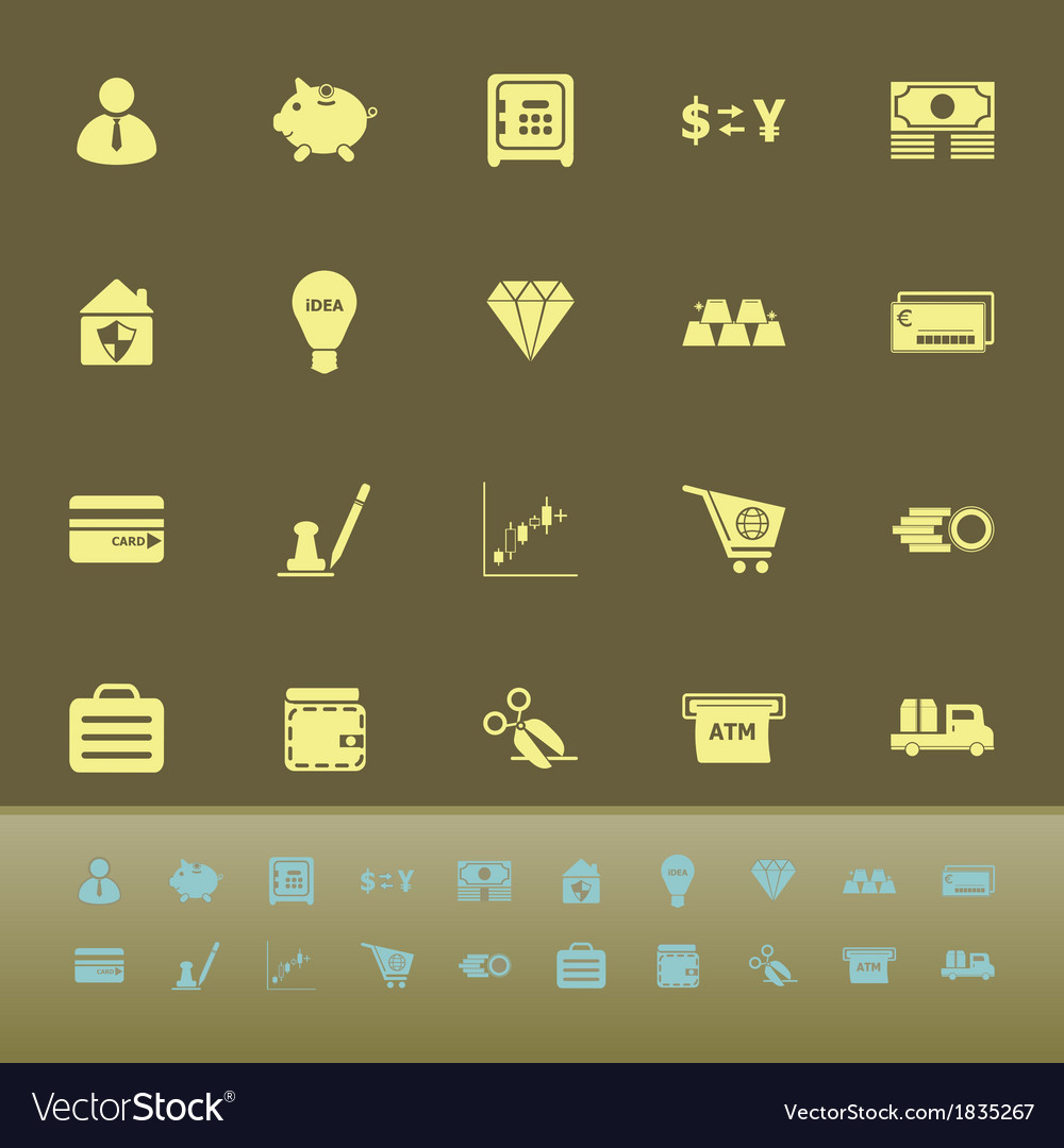 Money color icons on green background vector | Price: 1 Credit (USD $1)