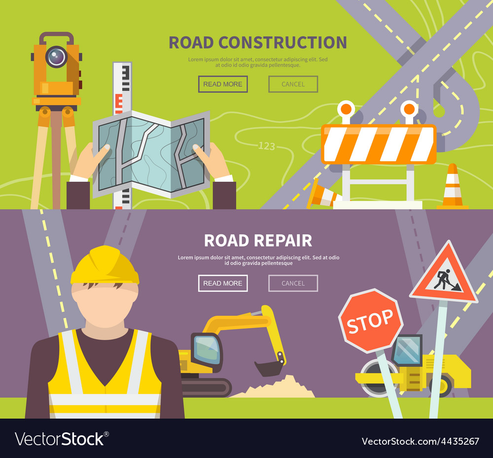Road worker banner vector | Price: 1 Credit (USD $1)