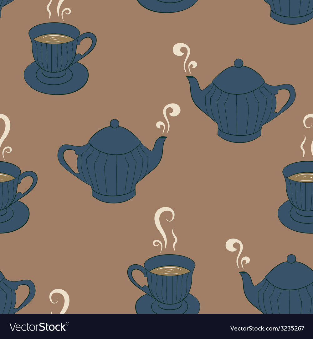 Seamless pattern background with sketching tea vector | Price: 1 Credit (USD $1)