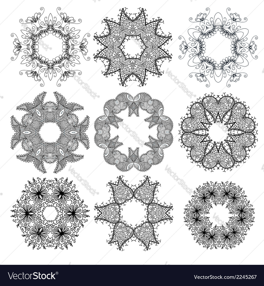 Set of black circle ornament patterns vector | Price: 1 Credit (USD $1)