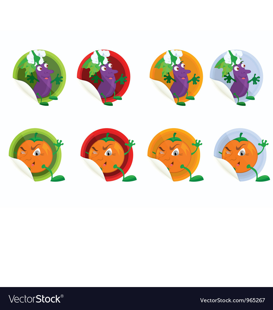 Set of stickers with eggplant vector | Price: 1 Credit (USD $1)