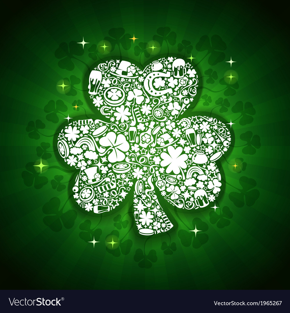 St patricks days card of white objects on shine vector | Price: 1 Credit (USD $1)