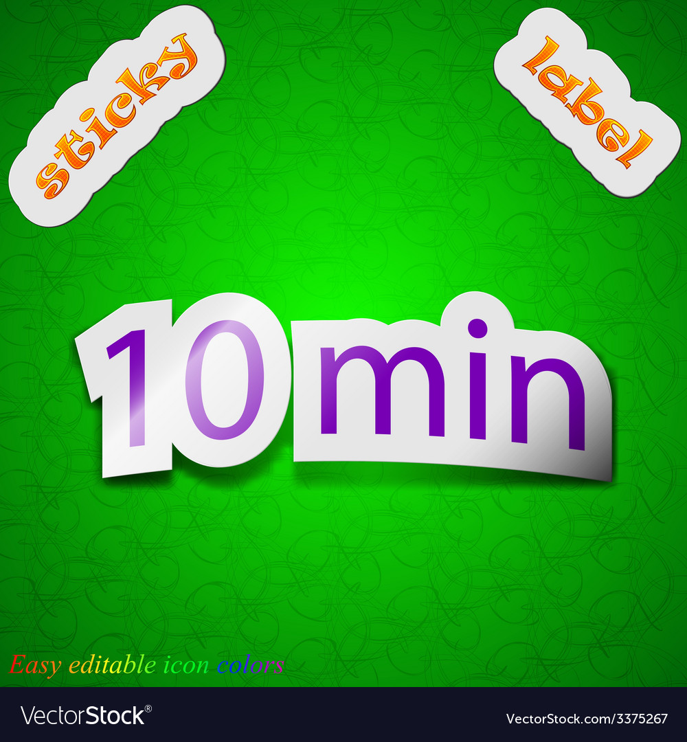 Ten icon sign symbol chic colored sticky label on vector   Price: 1 Credit (USD $1)