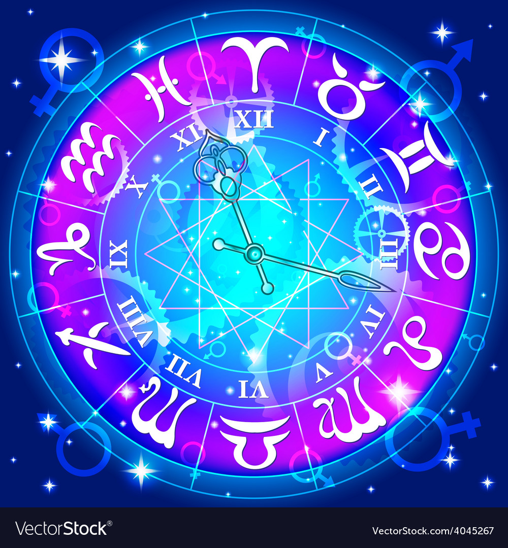 Watch with the astrological signs of the zodiac vector | Price: 1 Credit (USD $1)