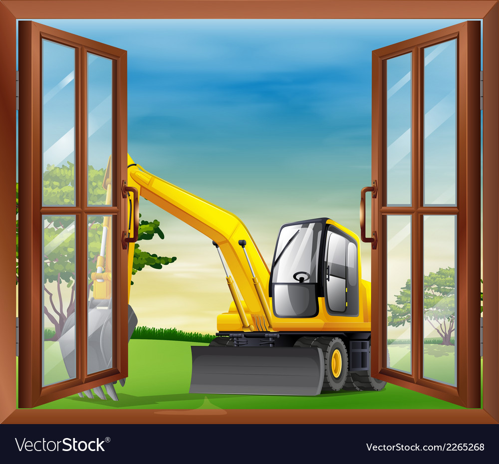A bulldozer outside the window vector | Price: 1 Credit (USD $1)