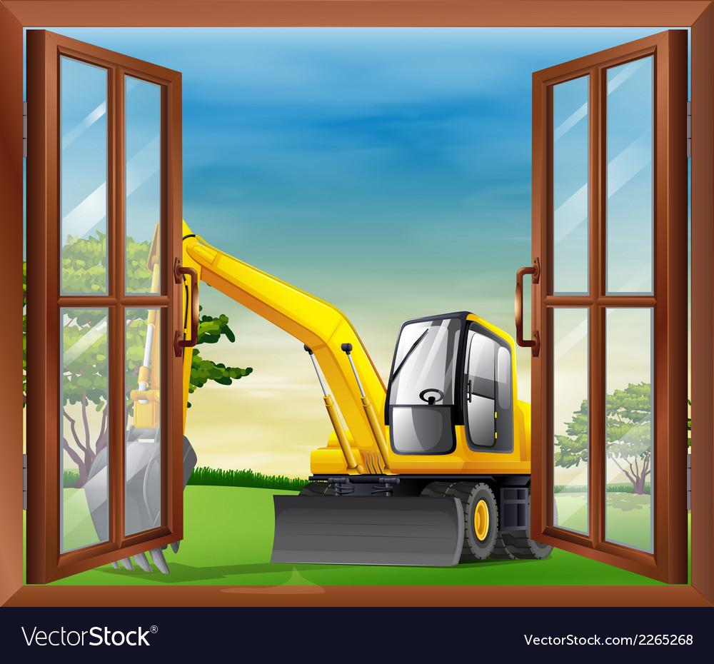 A bulldozer outside the window vector | Price: 1 Credit (USD $1)