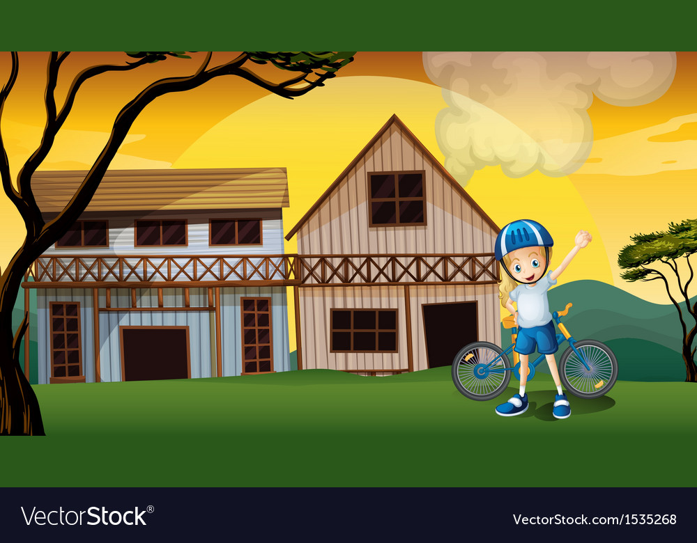 A female biker in front of the two wooden vector | Price: 1 Credit (USD $1)