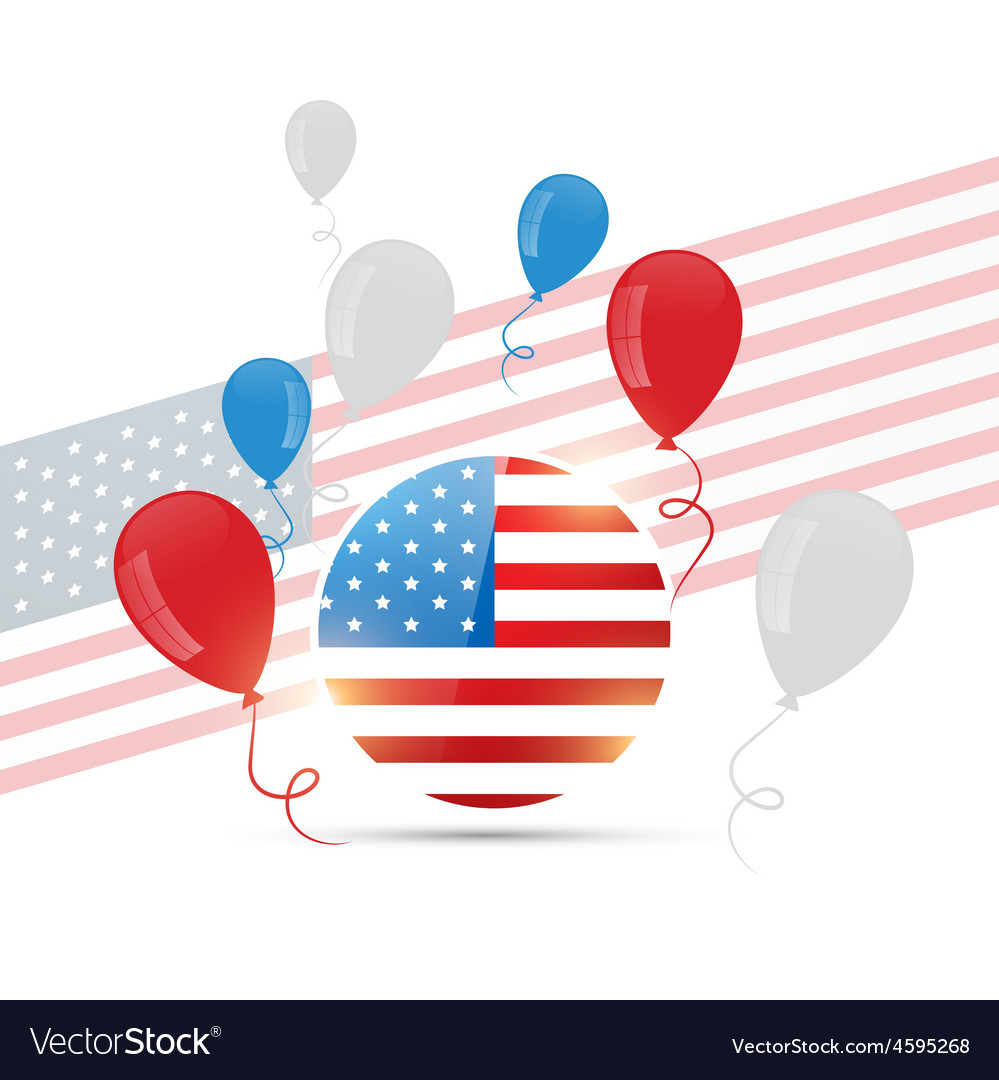 American flag design with balloons vector | Price: 1 Credit (USD $1)