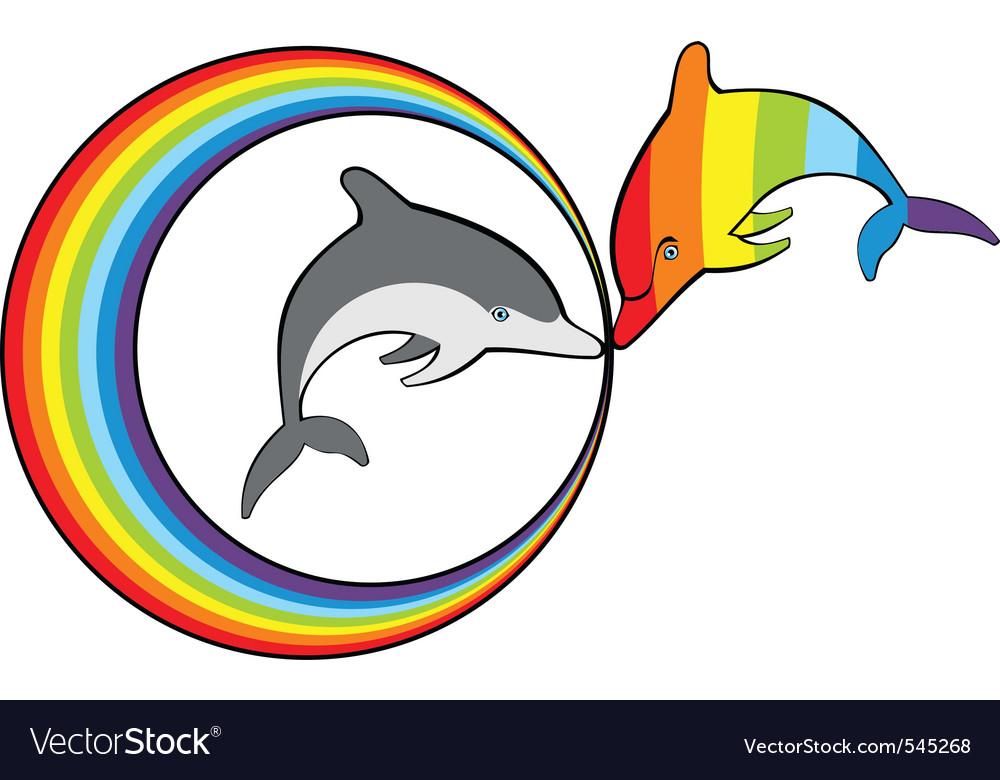Dolphins and rainbow vector