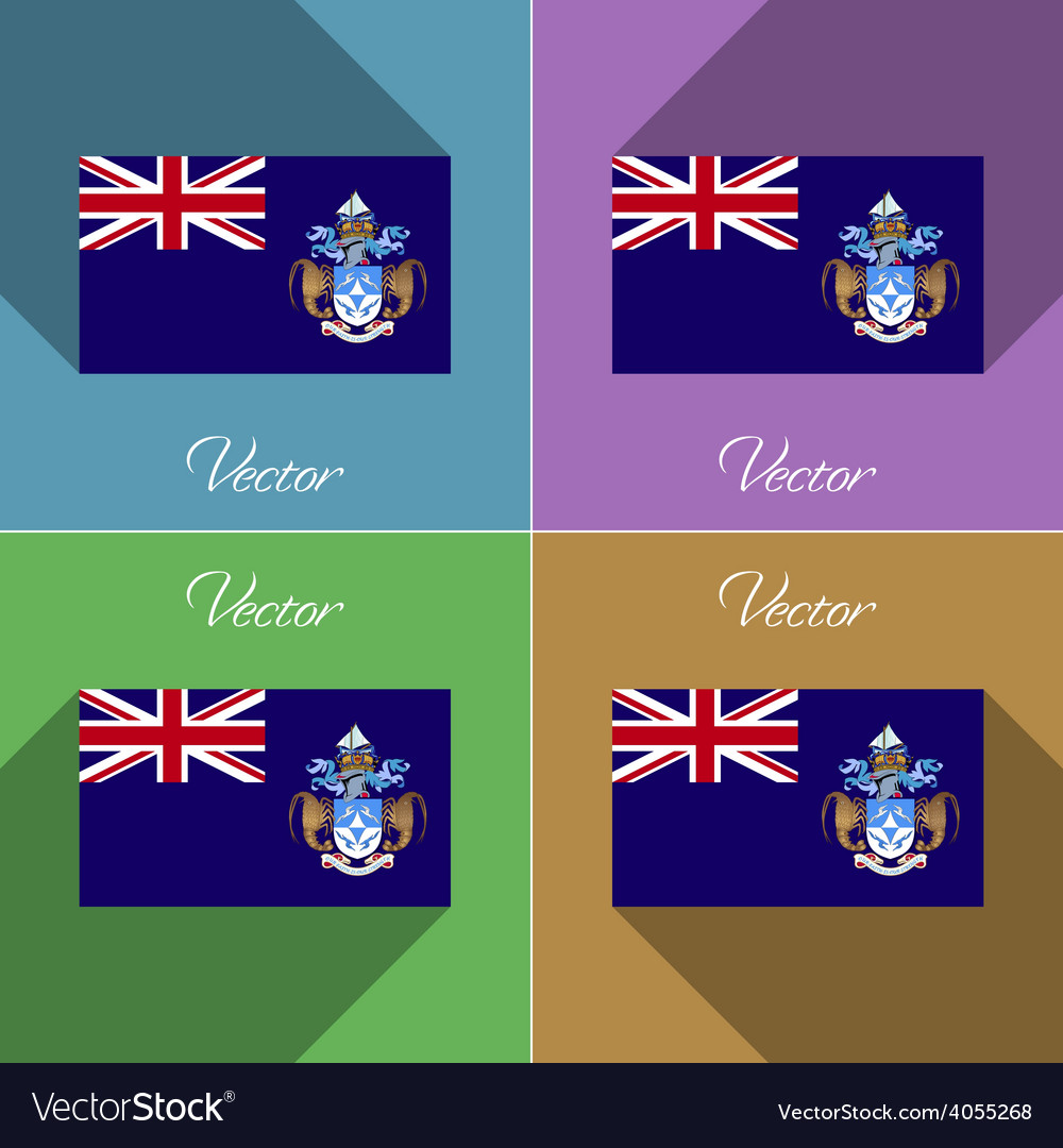 Flags tristan da cunha set of colors flat design vector | Price: 1 Credit (USD $1)
