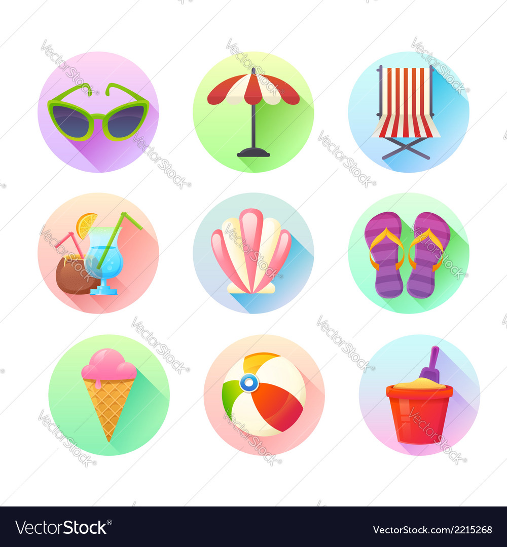 Flat trendy summer colorful icons set vector | Price: 1 Credit (USD $1)