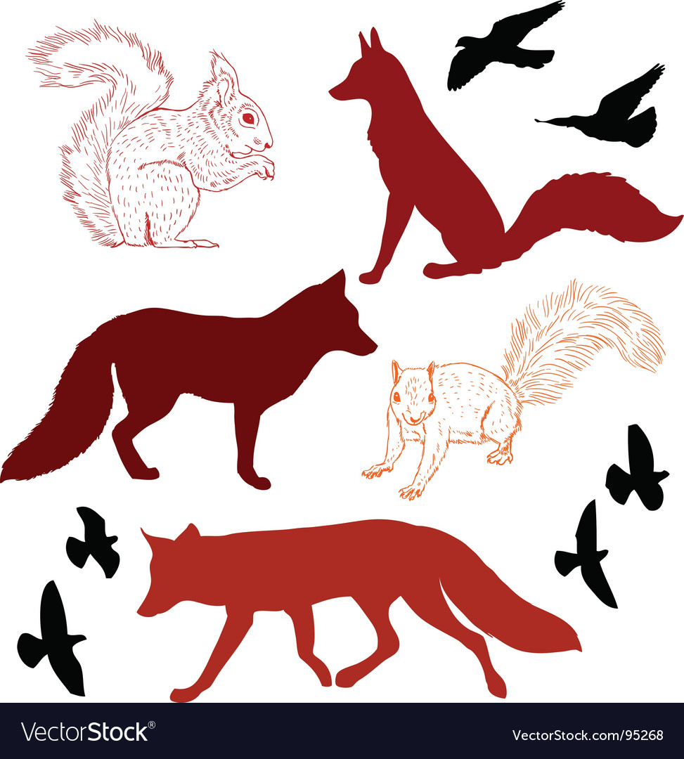 Forest critters vector | Price: 1 Credit (USD $1)