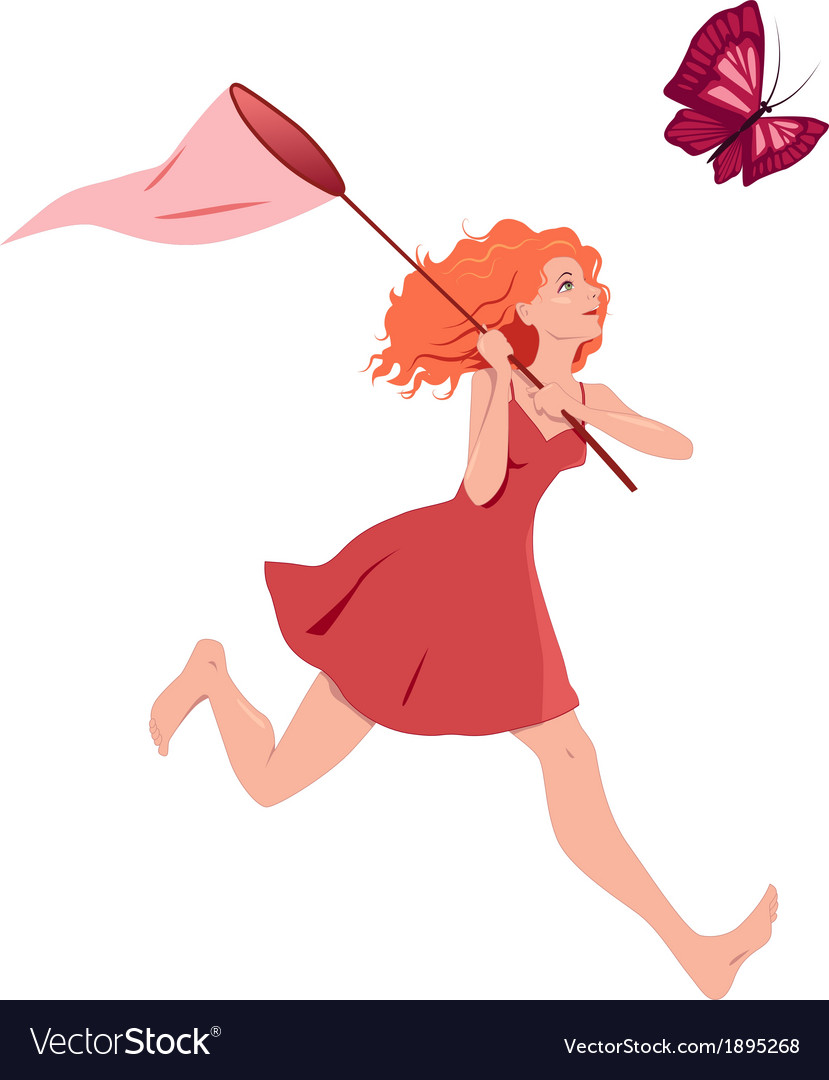 Girl chasing butterfly vector   Price: 1 Credit (USD $1)