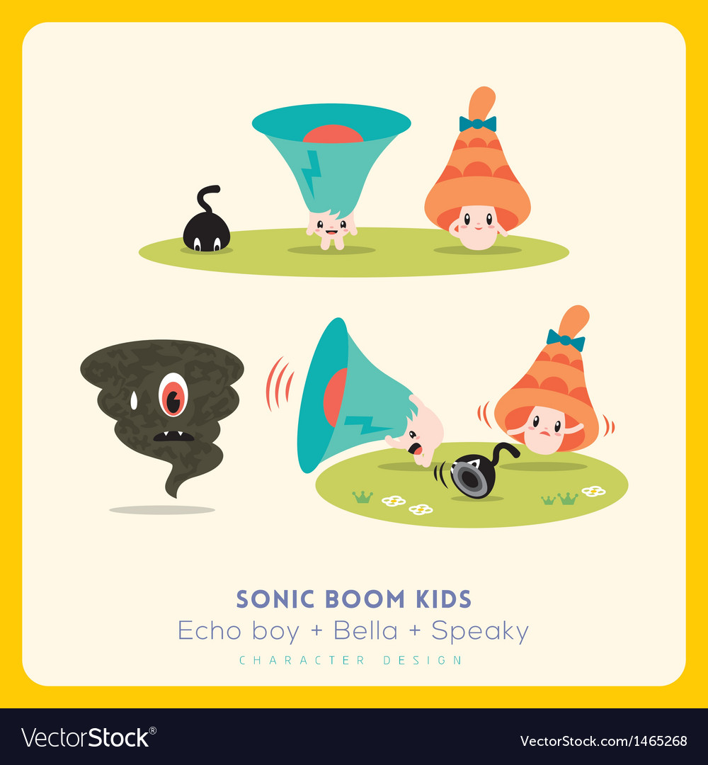 Mix of cute megaphone-speaker-bell cartoon charact vector | Price: 3 Credit (USD $3)