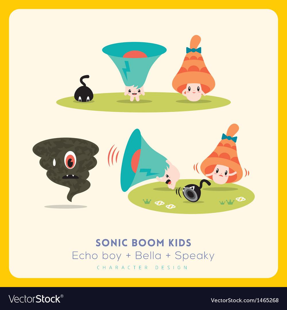 Mix of cute megaphone-speaker-bell cartoon charact vector | Price: 3 Credit (USD $3)
