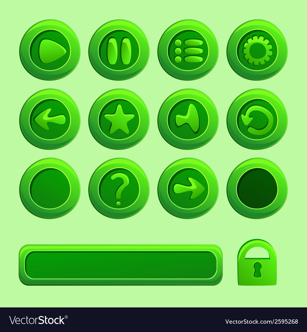 Mobile green elements for ui game - a set of play vector | Price: 1 Credit (USD $1)