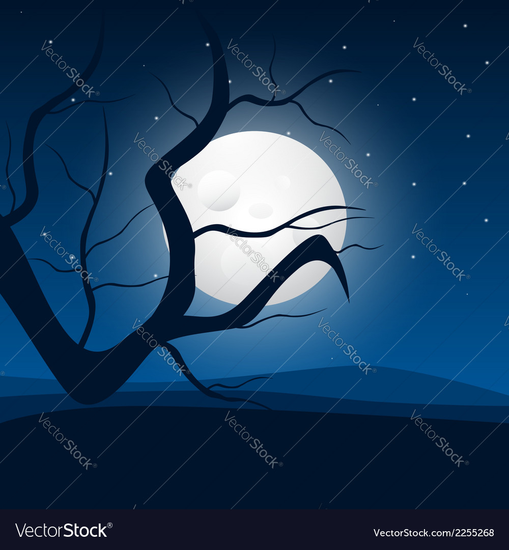 Moonlight and tree vector | Price: 1 Credit (USD $1)