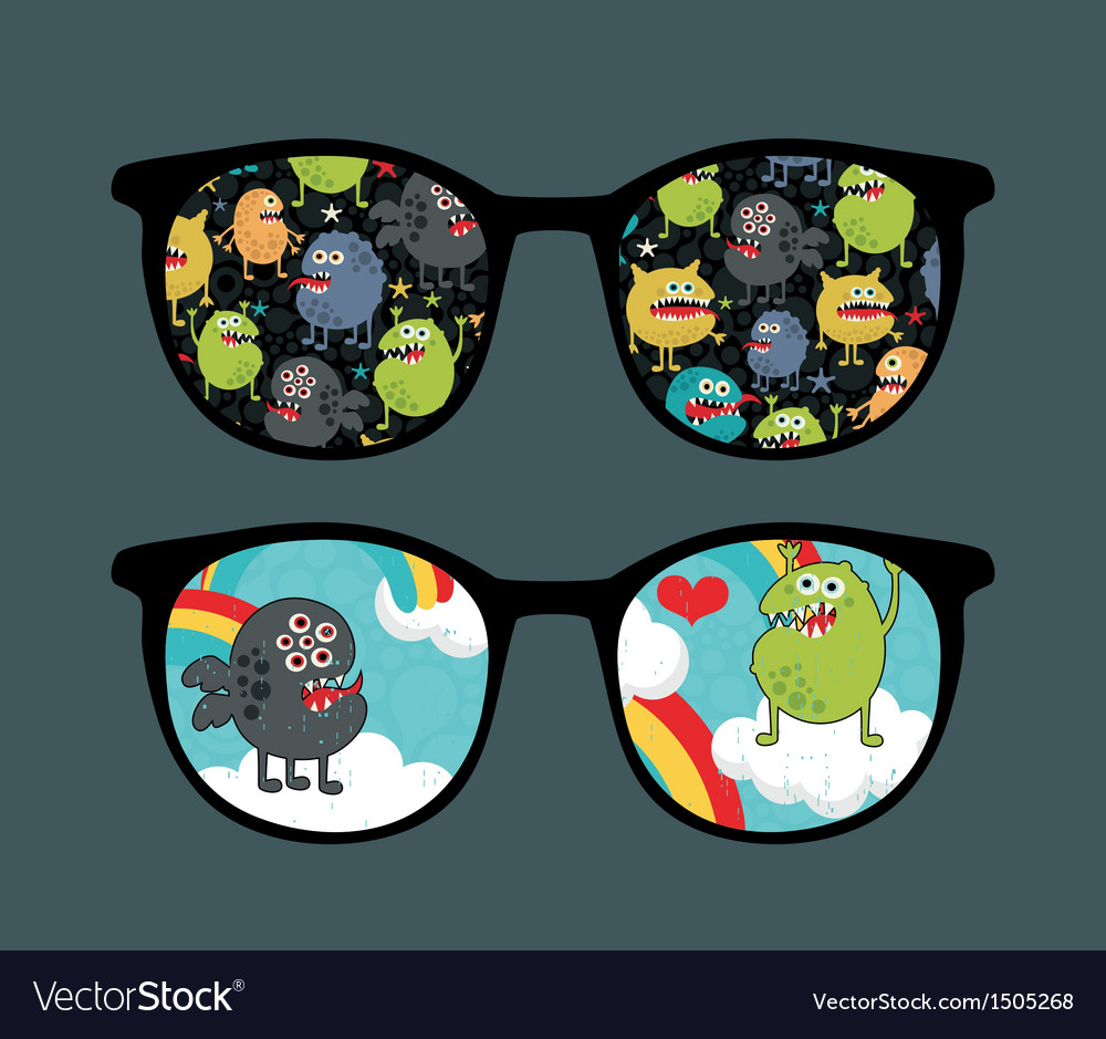 Retro sunglasses with monster sky reflection vector   Price: 1 Credit (USD $1)
