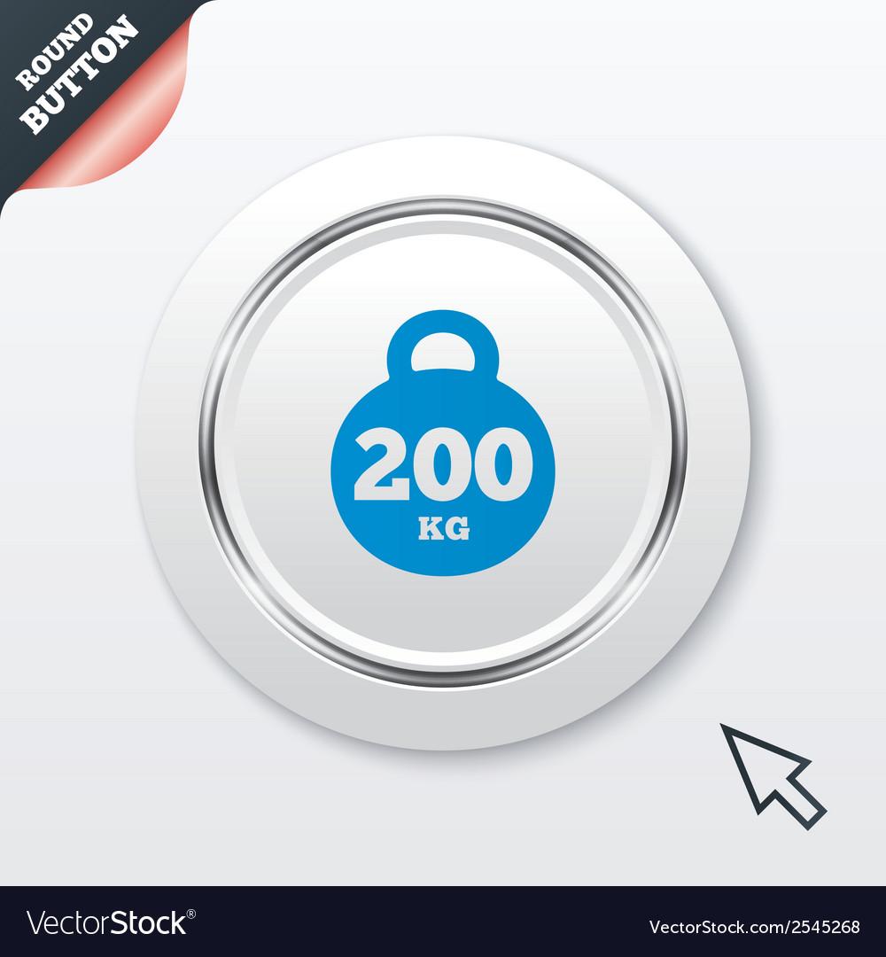 Weight sign icon 200 kilogram sport symbol vector   Price: 1 Credit (USD $1)