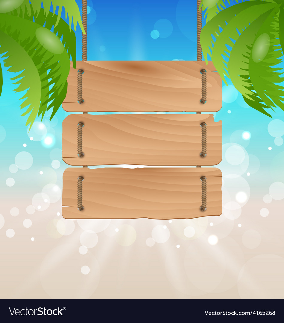 Wooden signboard on tropical beach vector | Price: 1 Credit (USD $1)