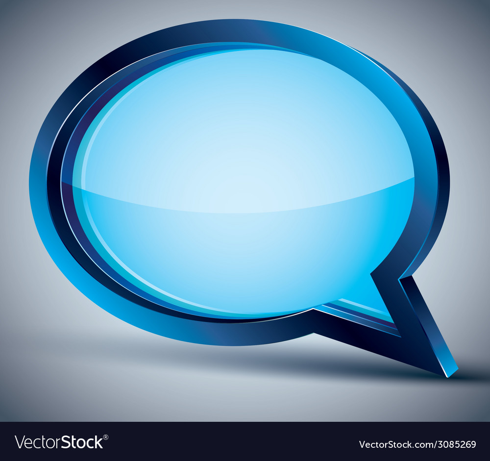 3d speech bubble with blank glass inside vector | Price: 1 Credit (USD $1)