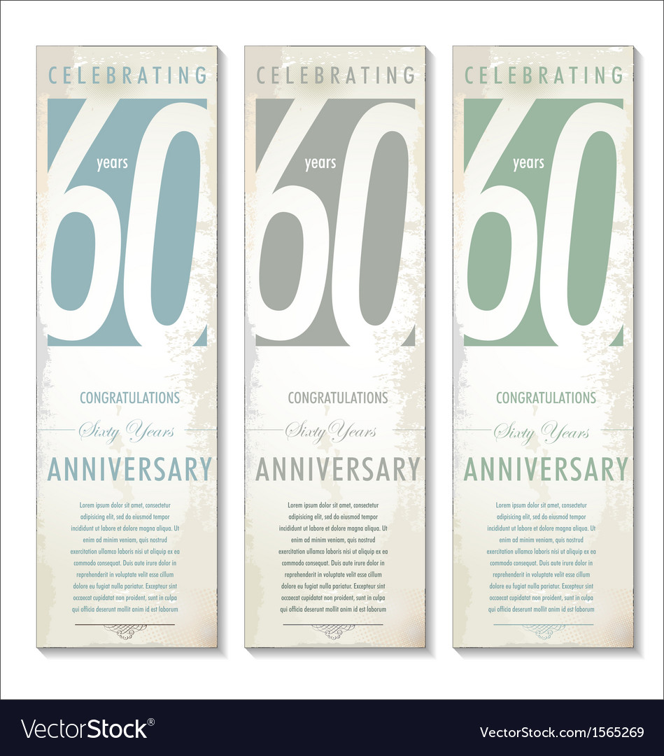 60 years anniversary retro banner set vector | Price: 1 Credit (USD $1)