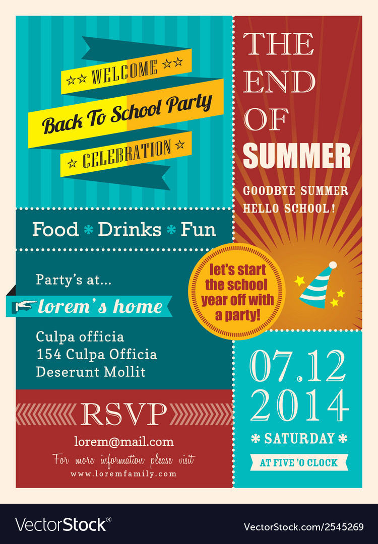 End of summer party poster or card design template vector | Price: 1 Credit (USD $1)