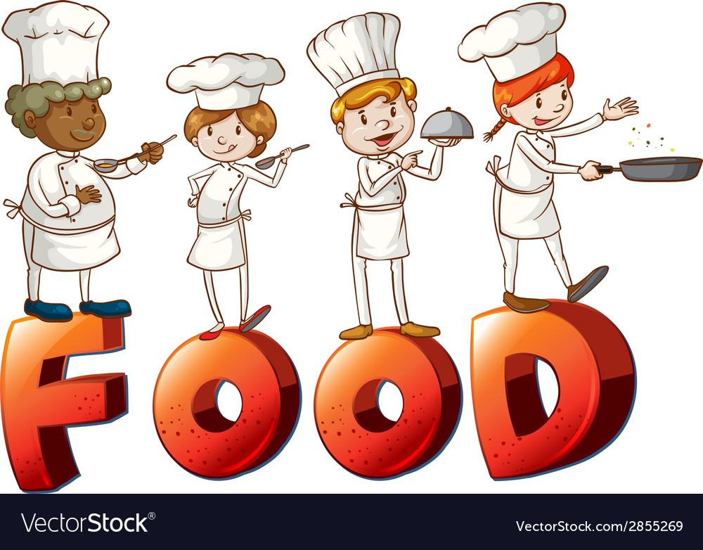 Food artwork with chefs vector | Price: 1 Credit (USD $1)