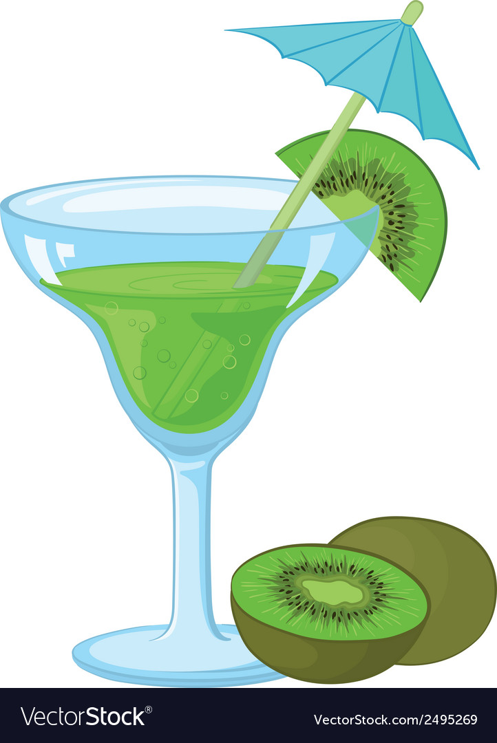 Glass with a green drink and kiwifruit vector | Price: 1 Credit (USD $1)