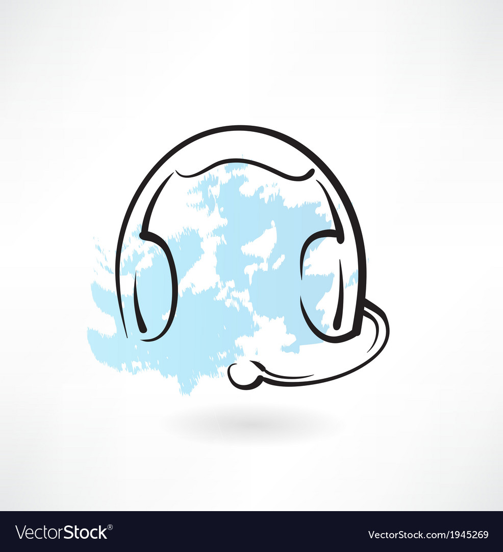 Headset with microphone grunge icon vector   Price: 1 Credit (USD $1)