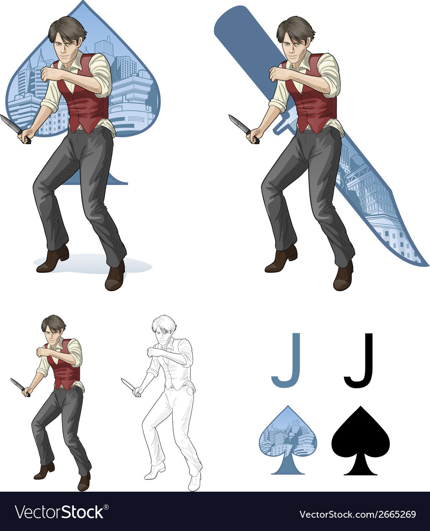 Jack of spades brawling man mafia card set vector | Price: 3 Credit (USD $3)