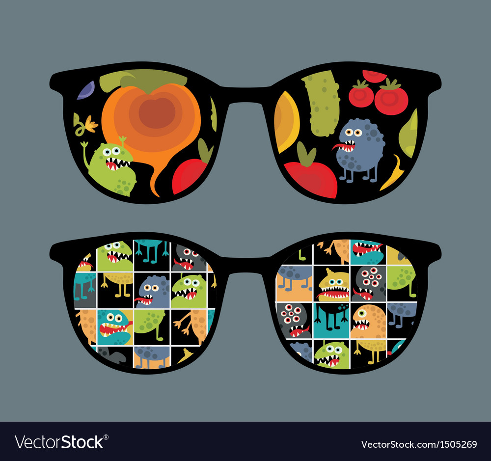 Retro sunglasses with monster and vegetables vector | Price: 1 Credit (USD $1)
