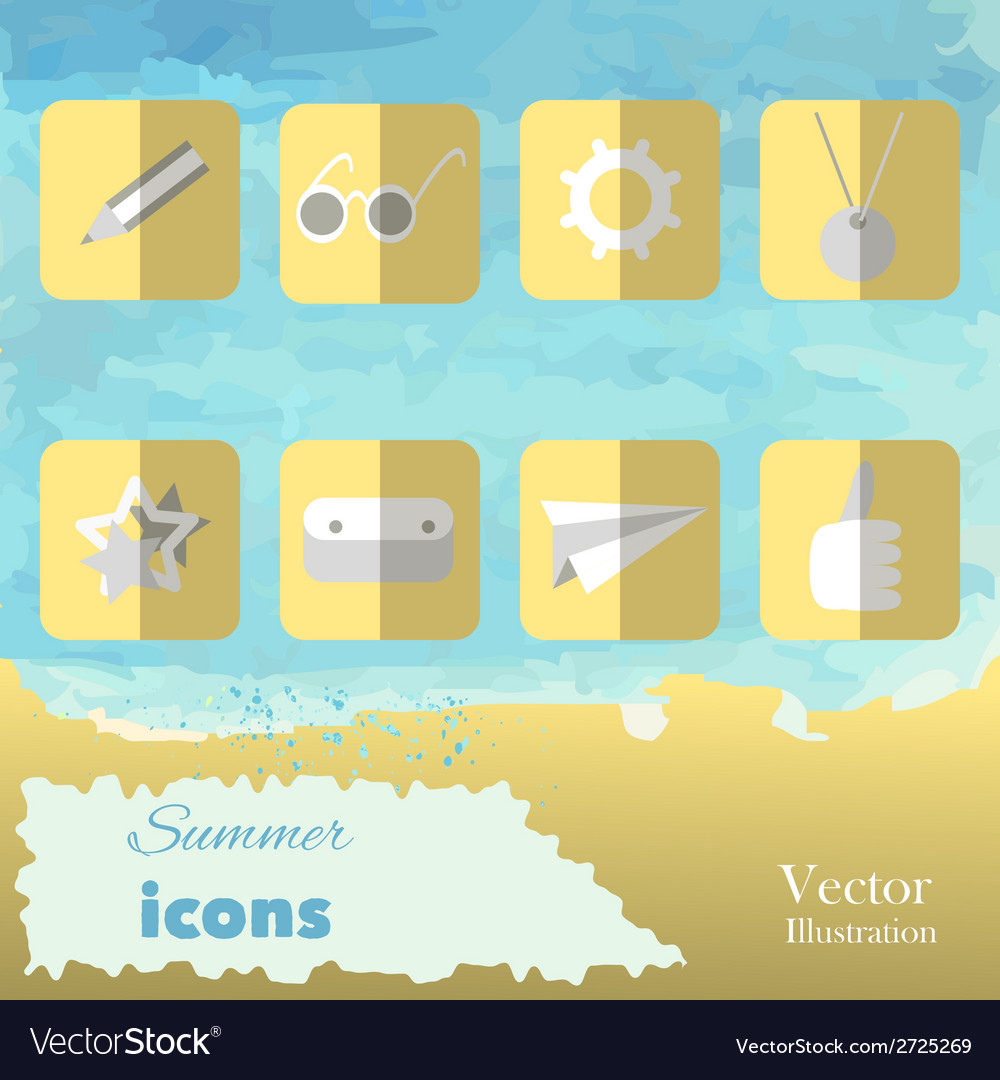 The summer set icons on watercolor background vector | Price: 1 Credit (USD $1)