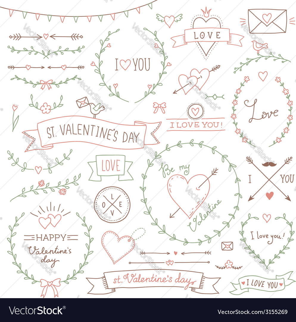 Valentine set vector | Price: 1 Credit (USD $1)